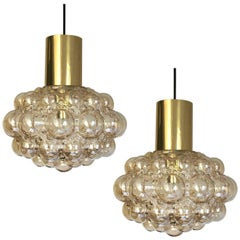 Set of Two Midcentury Amber Glass Bubble Lights by Helena Tynell