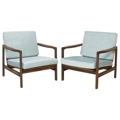Set of Two Midcentury Baby Blue Pattern Velvet Armchairs, Zenon Baczyk, 1960s