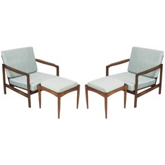 Set of Two Midcentury Blue Velvet Armchairs with Stools, Zenon Baczyk, 1960s