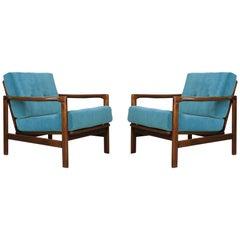 Set of Two Midcentury Blue Velvet Armchairs, Zenon Baczyk, 1960s