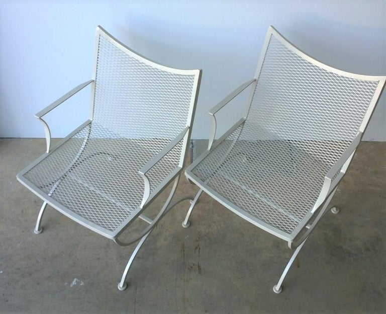 Set of 2 Bob Anderson Refinished Wrought Iron Patio Armchairs in Almond White For Sale 5