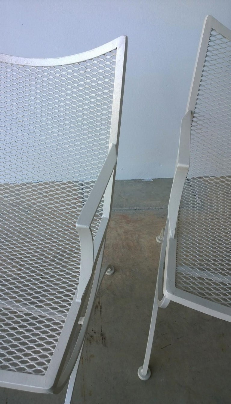 Post-Modern Set of 2 Bob Anderson Refinished Wrought Iron Patio Armchairs in Almond White For Sale