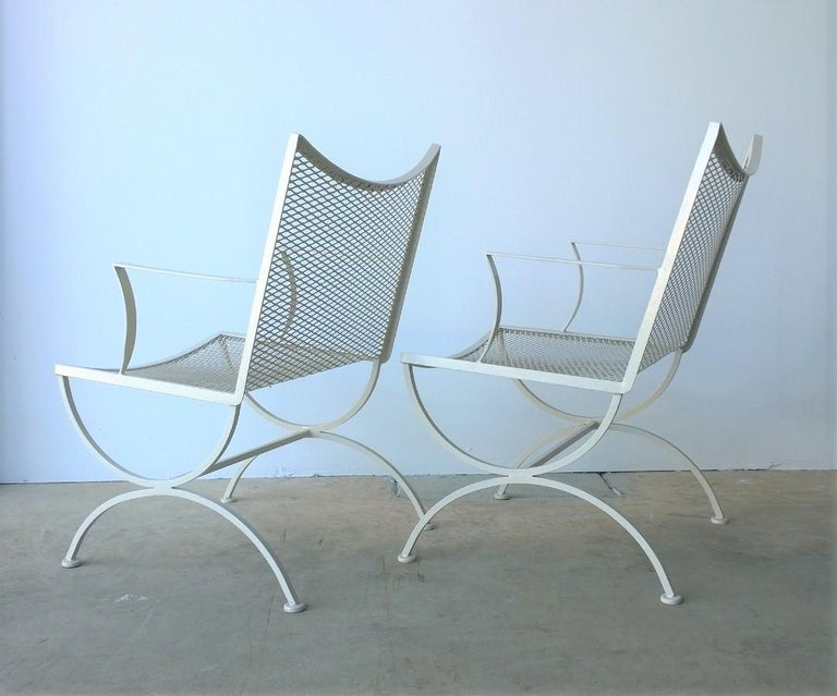 Set of 2 Bob Anderson Refinished Wrought Iron Patio Armchairs in Almond White For Sale 1