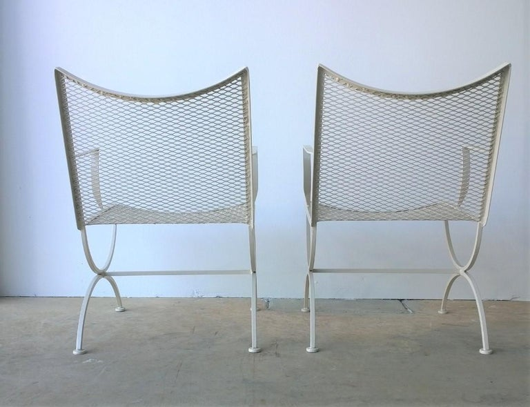 Set of 2 Bob Anderson Refinished Wrought Iron Patio Armchairs in Almond White For Sale 2