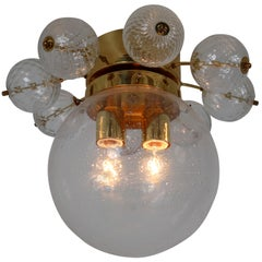 Set of Two Midcentury Brass Ceiling Lamp-Chandeliers with Handblown Glass