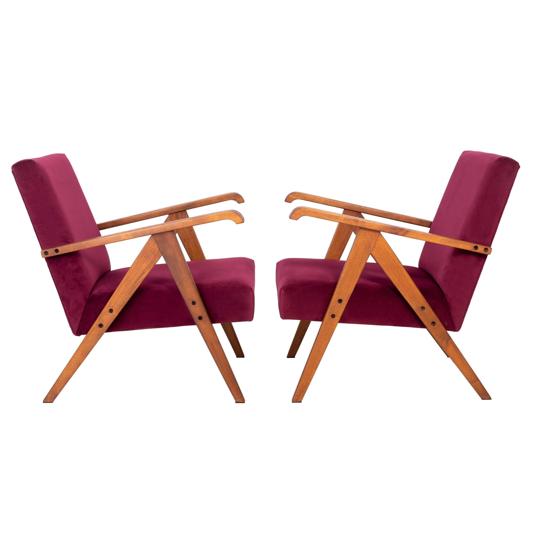 Set of Two Midcentury Burgundy Velvet VAR Armchairs, 1960s