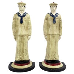 Set of Two Midcentury Cast Iron Sailors