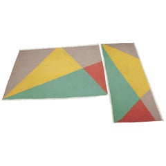 Set of Two Midcentury Geometric Carpets or Rugs