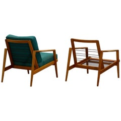 Set of Two Midcentury German Beech Wood Lounge Chairs from Knoll Antimott