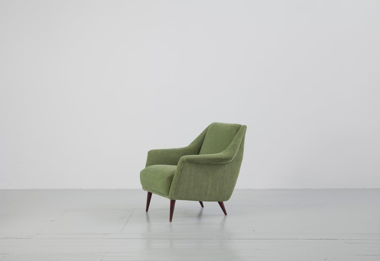 Set of Two Midcentury Green Model 802 Armchairs by Carlo de Carli for Cassina For Sale 4