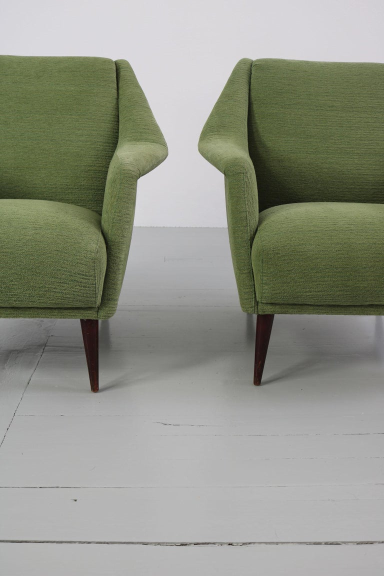 Set of Two Midcentury Green Model 802 Armchairs by Carlo de Carli for Cassina For Sale 8