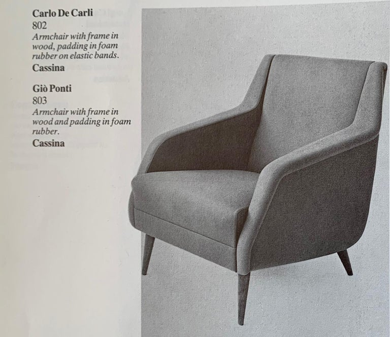 Set of Two Midcentury Green Model 802 Armchairs by Carlo de Carli for Cassina For Sale 13