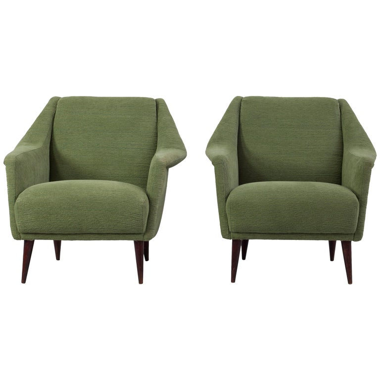 Set of Two Midcentury Green Model 802 Armchairs by Carlo de Carli for Cassina For Sale