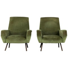Set of Two Midcentury Green Velvet Arflex Armchairs by Gianfranco Frattini