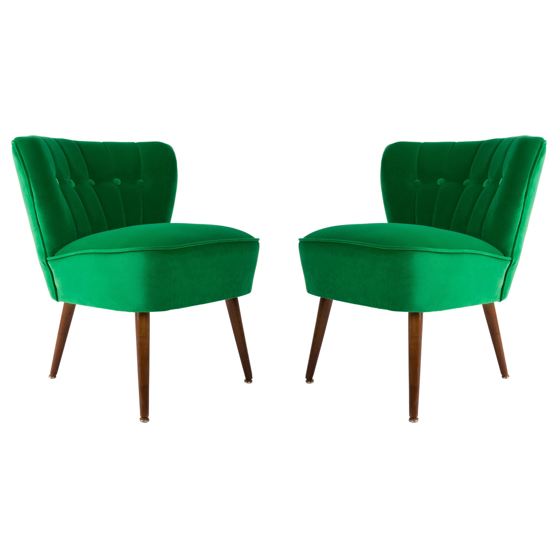 Set of Two Midcentury Green Velvet Club Armchairs, Germany, 1960s