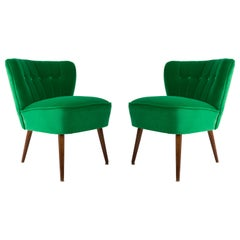 Set of Two Midcentury Green Velvet Club Armchairs, Germany, 1960s