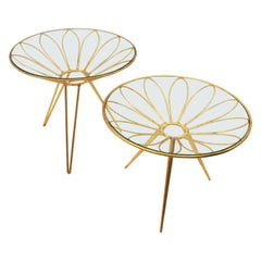 Set of Two Midcentury Hollywood Regency Daisy Flower Gilt Iron Coffee Tables