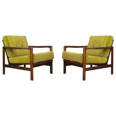 Set of Two Midcentury Lemon Velvet Armchairs, Zenon Baczyk, 1960s