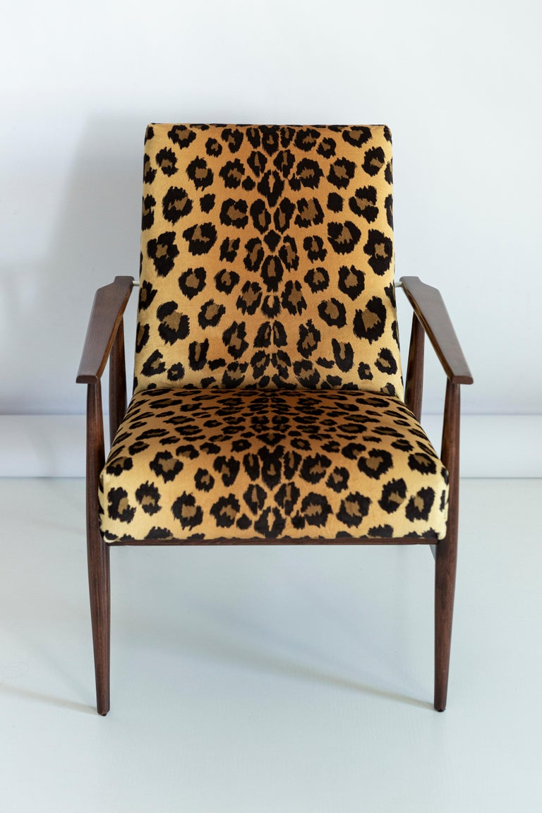 Set of Two Midcentury Leopard Print Velvet Dante Armchairs, H. Lis, 1960s For Sale 2