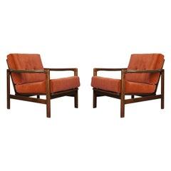 Set of Two Midcentury Sierra Velvet Armchairs, Zenon Baczyk, 1960s
