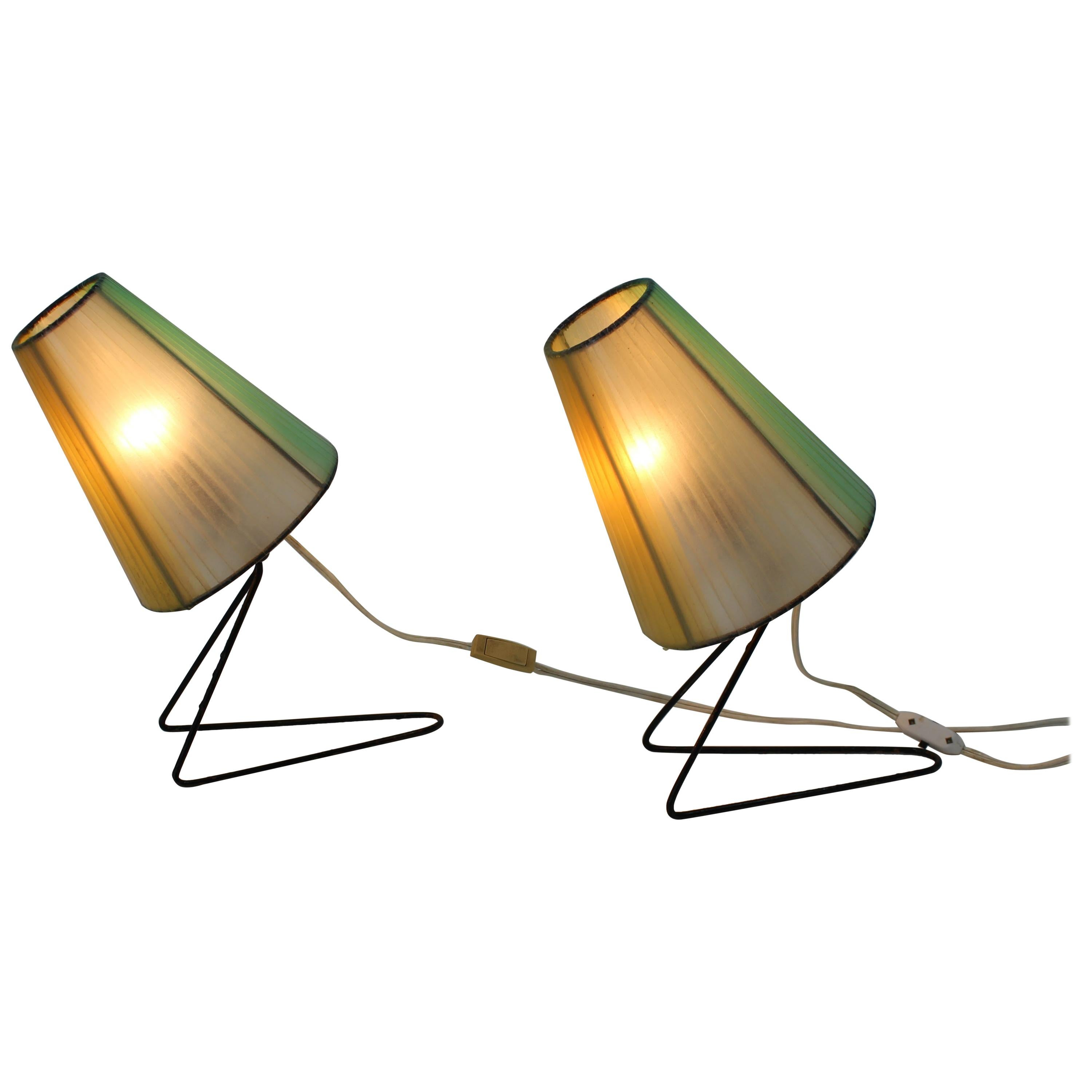 Set of Two Midcentury Table or Bedside Lamps, 1960