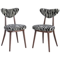 Set of Two Midcentury Zebra Black and White Heart Chairs, Poland, 1960s