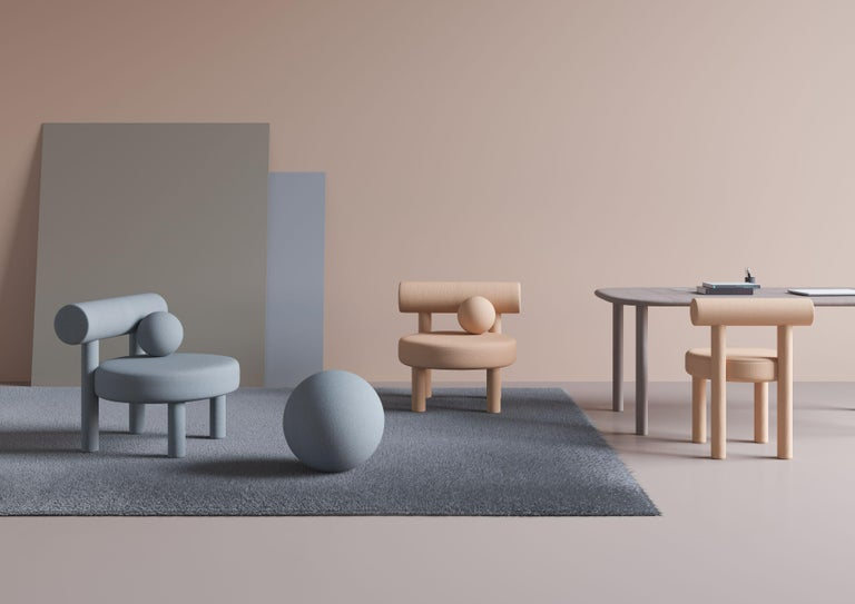 Set of Two Modern Chair Gropius CS1 in Matt Velvet Fabric by Noom For Sale 9