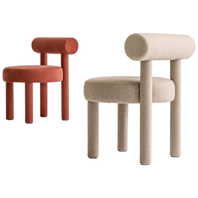 Set of Two Modern Chair Gropius CS1 in Matt Velvet Fabric by Noom For Sale