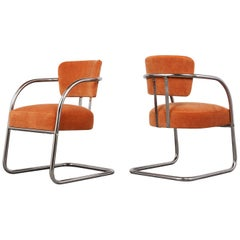 Set of Two Modern Chrome Frame Lounge Chairs