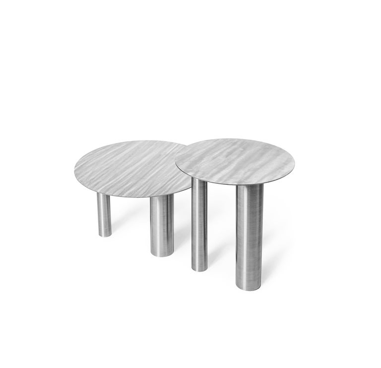 Set of Two Modern Coffee Tables Brandt CS1 by NOOM in Stainless Steel For Sale 4