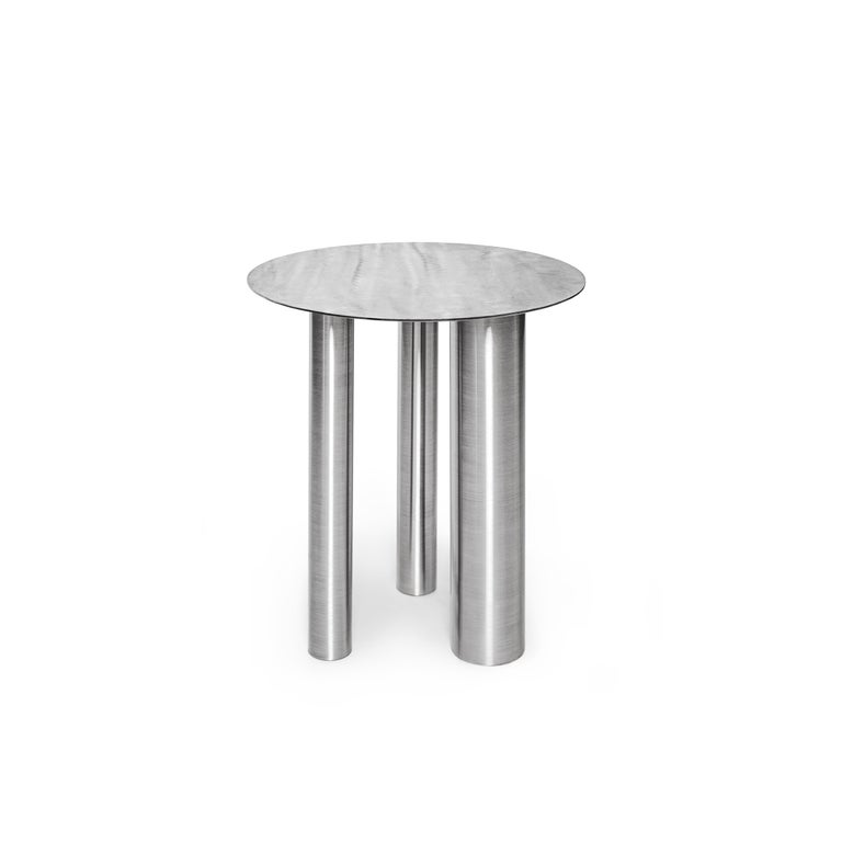 Brushed Set of Two Modern Coffee Tables Brandt CS1 by NOOM in Stainless Steel For Sale