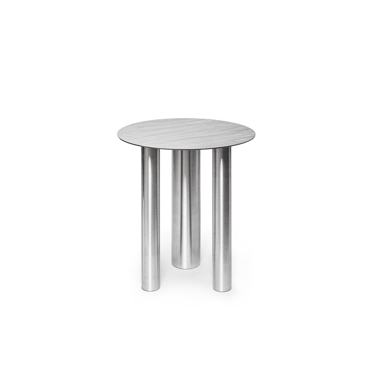 Set of Two Modern Coffee Tables Brandt CS1 by NOOM in Stainless Steel For Sale 1