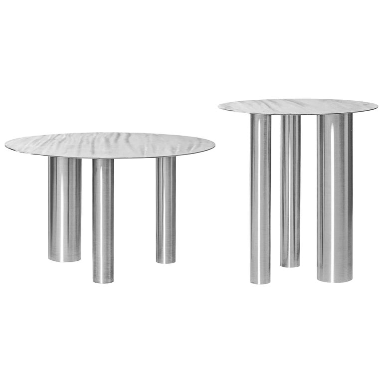 Set of Two Modern Coffee Tables Brandt CS1 by NOOM in Stainless Steel For Sale