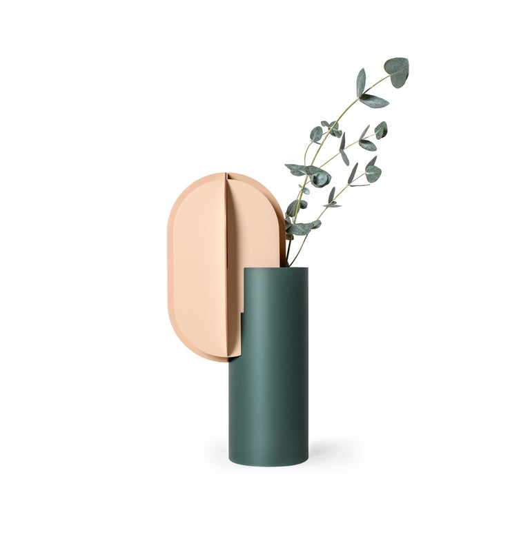 Set of Two Modern Vase Delaunay & Gabo CS10 by Noom in Copper and Steel For Sale 5