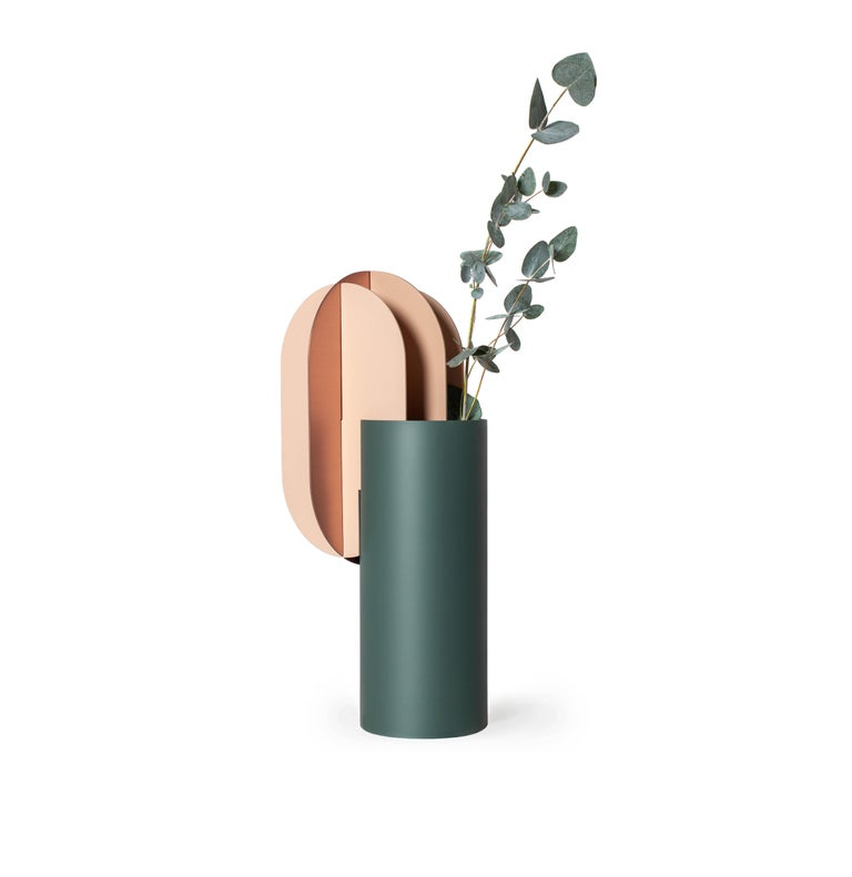 Set of Two Modern Vase Delaunay & Gabo CS10 by Noom in Copper and Steel For Sale 6