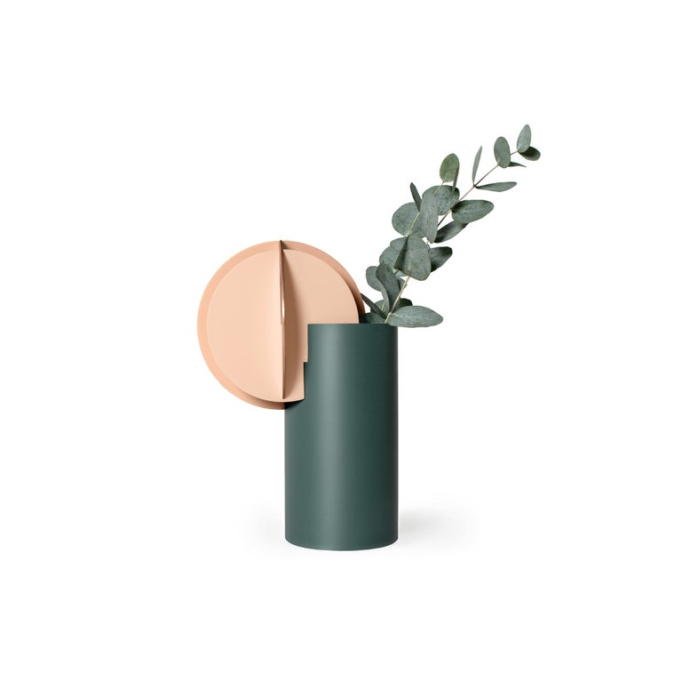 Set of Two Modern Vase Delaunay & Gabo CS10 by Noom in Copper and Steel For Sale 2