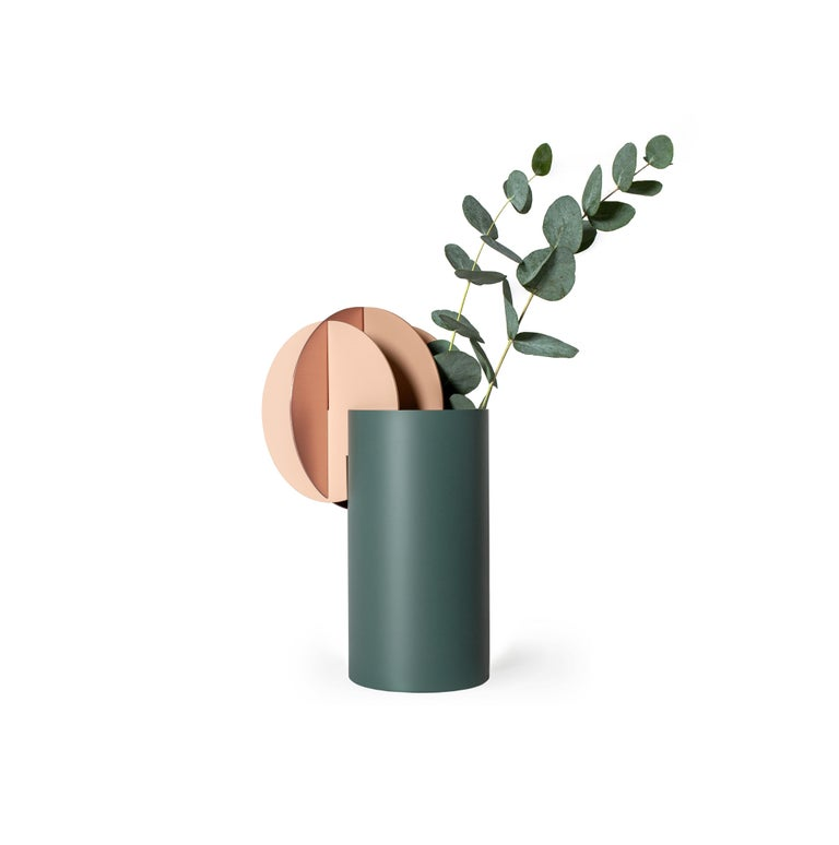 Set of Two Modern Vase Delaunay & Gabo CS10 by Noom in Copper and Steel For Sale 3
