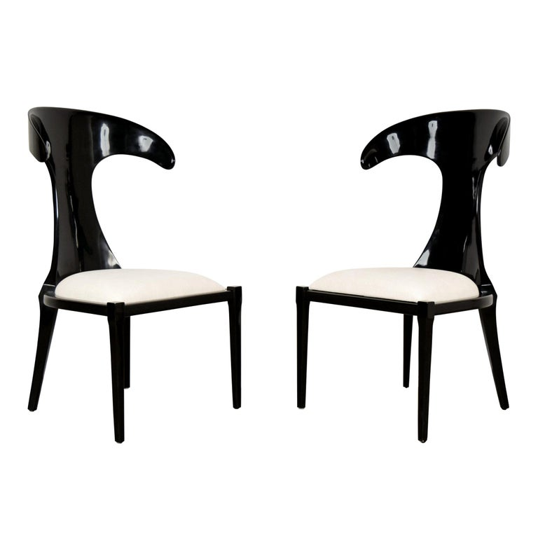 Set of Two Modern Lacquered Italian Chairs For Sale