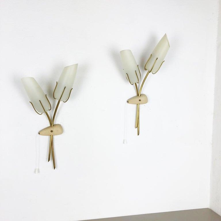 Mid-Century Modern Set of Two Modernist 1960s Italian Stilnovo Style Metal Sconces Wall Lights