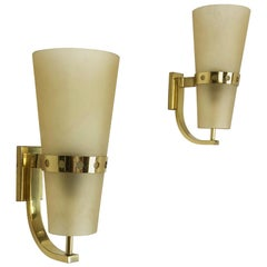 Set of Two Modernist Brass Italian Wall Lights Sconces, Italy, 1950s