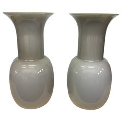 Set of Two Modernist Grey Murano Glass Vases by Aureliano Toso, 2000