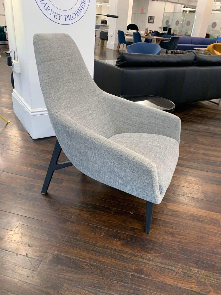 Contemporary Set of Two Montis Lounge Chairs in Deep Blue Raf Simon Pilot Fabric  For Sale
