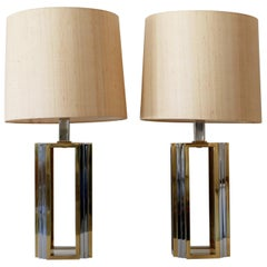 Set of Two Monumental Bicolor Table or Floor Lamps by Romeo Rega, 1970s, Italy