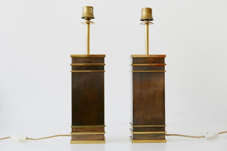 Mid-Century Modern Set of Two Monumental Midcentury Table Lamps by Vereinigte Werkstätten, Germany For Sale