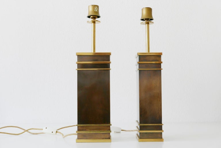 Patinated Set of Two Monumental Midcentury Table Lamps by Vereinigte Werkstätten, Germany For Sale