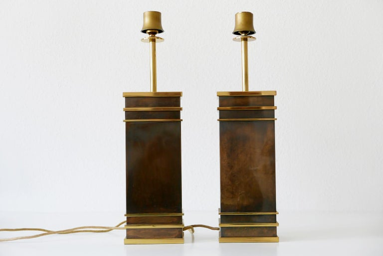 Brass Set of Two Monumental Midcentury Table Lamps by Vereinigte Werkstätten, Germany For Sale