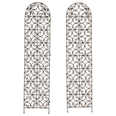 Set of Two Moorish Screen Hand Forged Iron Panels