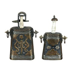Set of Two Moroccan Antique Tribal Gun Powder Case Flasks