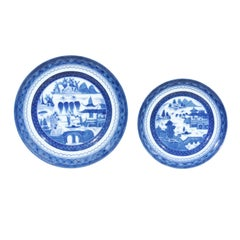 Set of Two Mottahedeh Chinoiserie Blue Canton Plates with Landscape Scenes