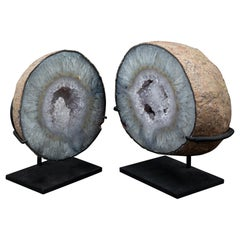 Set of Two Mounted Geodes, Pot and Lid